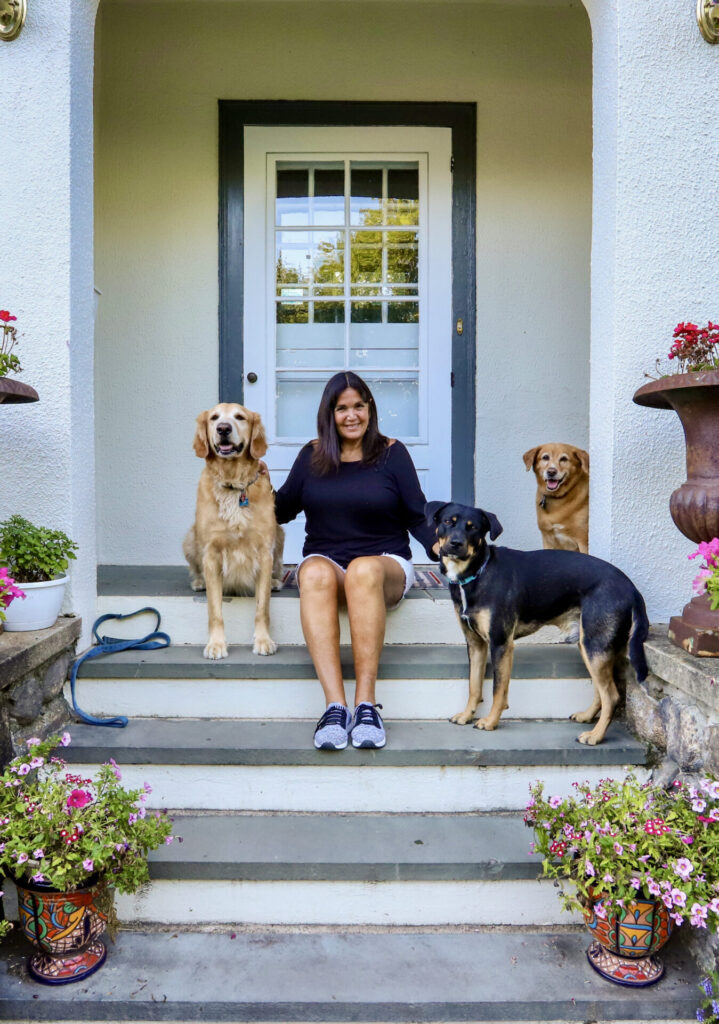 Elaine with dogs